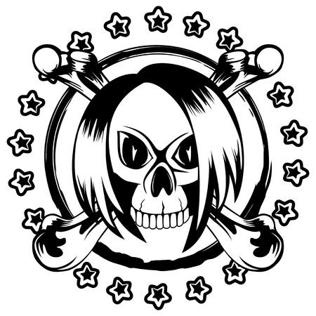 skull and crossed bones: Vector illustration emo skull with hair and crossed bones and stars on grunge background. For t-shirt design.