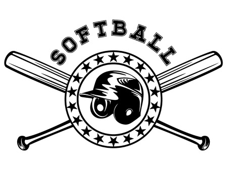 Abstract vector illustration black and white baseball helmet and crossed bats. Inscription softball. Design for tattoo or print t-shirt.