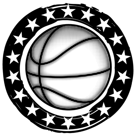 Abstract vector illustration black and white basketball ball on grunge background with stars. Design for tattoo or print t shirt.