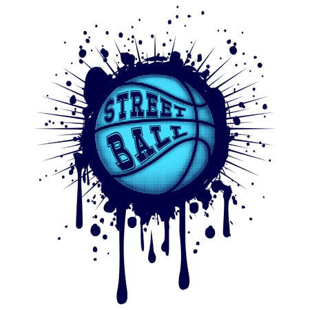 Abstract vector illustration blue basketball ball on grunge background. Inscription streetball. Design for tattoo or print t-shirt.