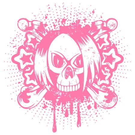Vector illustration pink emo skull with hair and crossed bones on grunge background. For t-shirt design. Illustration