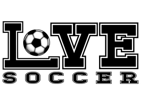 Abstract vector illustration black inscription love soccer with football ball. Design for print on fabric or t-shirt. Иллюстрация