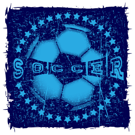 Abstract vector illustration football ball with stars. Inscription soccer. Design for print on fabric or t-shirt.