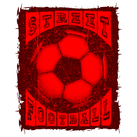 Abstract vector illustration black shabby stamp football ball on grunge background. Inscription football. Design for print on fabric or t-shirt.