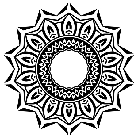 knotwork: Abstract vector black and white illustration round beautiful tracery frame. Decorative vintage ethnic mandala pattern. Design element for tattoo or logo.