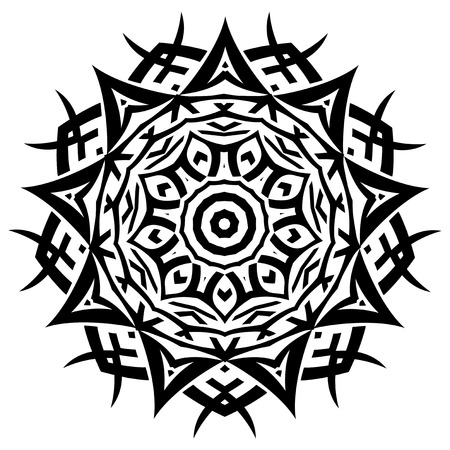 Abstract vector black and white illustration round beautiful ornament. Decorative vintage ethnic mandala pattern. Design element for tattoo or logo. Illustration