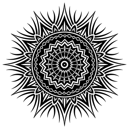 Abstract vector black and white illustration round beautiful ornament. Decorative vintage ethnic mandala pattern. Design element for tattoo or logo. Logo