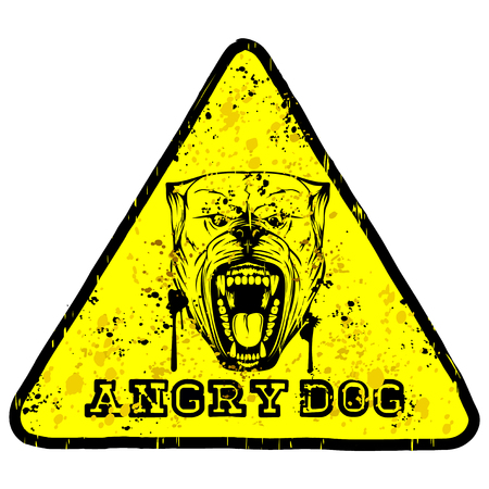 Abstract vector illustration yellow sign head dog breed pit bull with collar with spikes. Inscription angry dog.