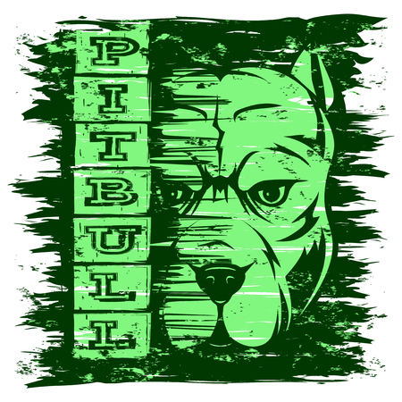 A Vector illustration dog breed pit bull on grunge background. Inscription pitbull. For t-shirt design. Illustration