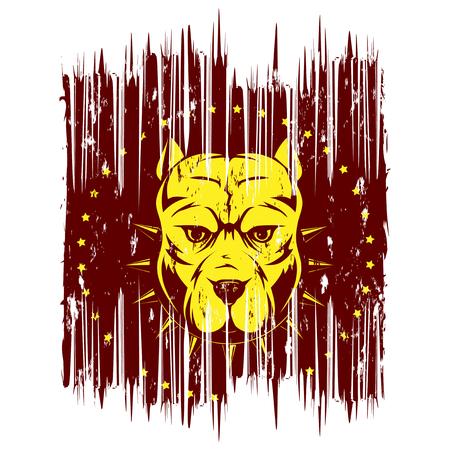 A Vector illustration dog breed pit bull on grunge background. For t-shirt design.