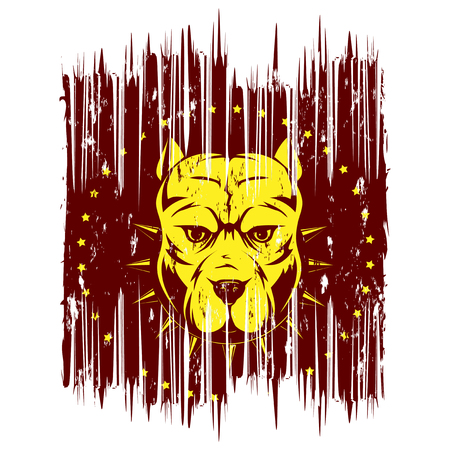 A Vector illustration dog breed pit bull on grunge background. For t-shirt design.