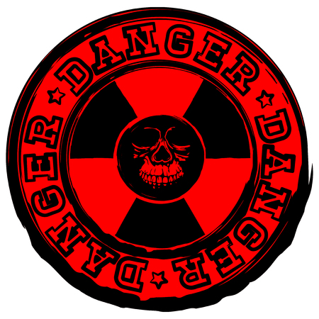 A Vector illustration red round old stamp with radioactivity sign and lettering danger. In center of radiation symbol abstract grunge skull