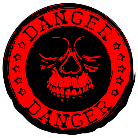 Abstract vector illustration red and black old round stamp with lettering danger and grunge skull