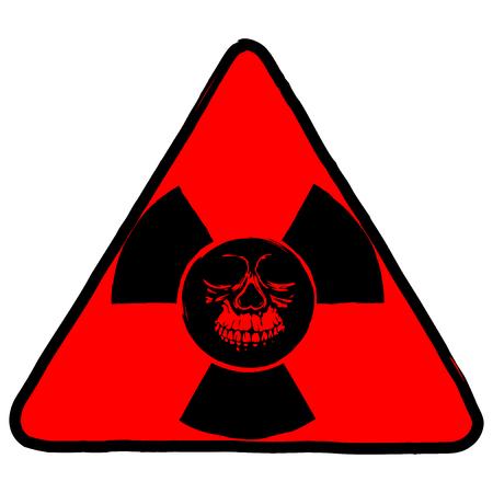 nuke: A Vector illustration red triangle radiation symbol and abstract grunge skull illustration. Illustration