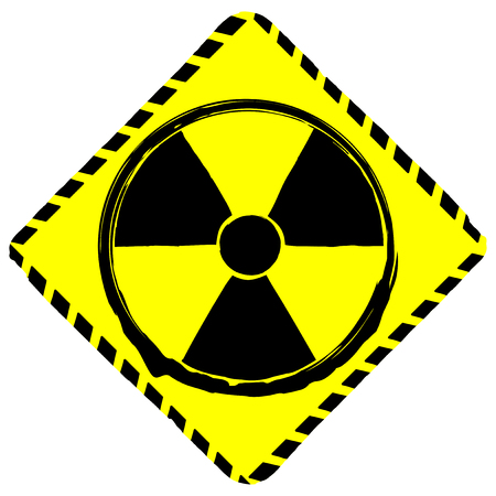 A Vector illustration rhombic yellow sign radiation illustration. Illustration