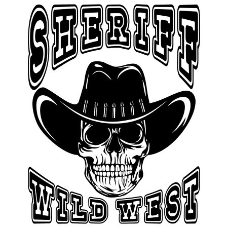 A Vector illustration cowboy skull in hat and lettering sheriff and wild west. Illustration