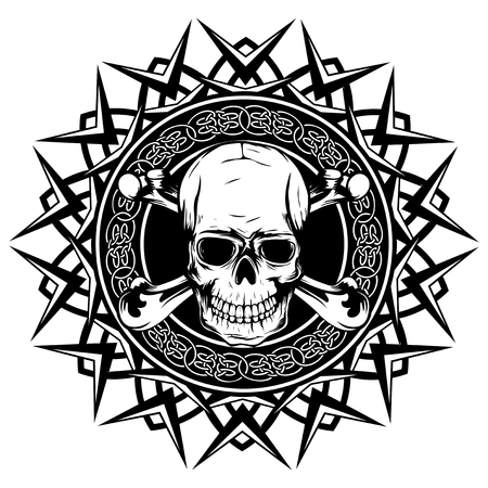 Abstract vector illustration black and white human skull with crossed bones on round ornament with celtic knots. Design for tattoo or print t shirt.