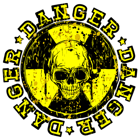 A Vector illustration yellow old stamp with radioactivity sign and inscription in circle danger. In center of radiation symbol abstract grunge skull illustration.