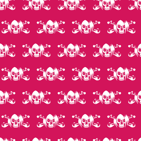 Vector illustration cartoon purple emo girl skull with hair and crossed bones. Seamless background. For t-shirt design or print on textile. Illustration
