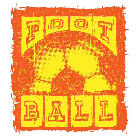 Abstract vector illustration yellow and orange shabby stamp football ball on grunge background. Inscription football. Design for print on fabric or t-shirt.