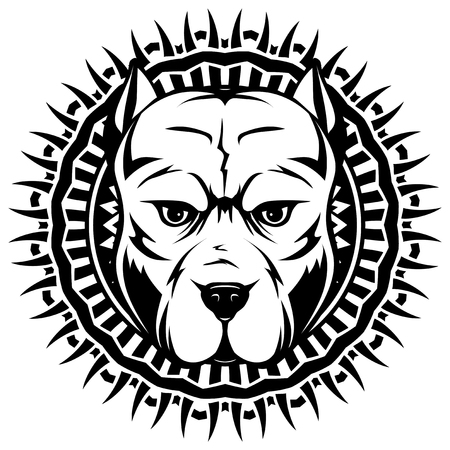 Abstract vector black and white illustration portrait of fighting dogs on round pattrn. Head of dog breed pit bull. 일러스트