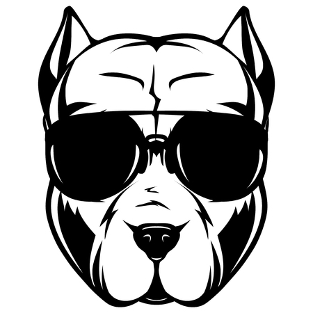 Abstract vector black and white illustration portrait of fighting dogs. Head of dog breed pit bull in sunglasses. Illustration
