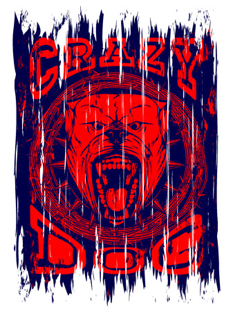 Abstract vector illustration aggressive snarling dog on grunge background with inscription crazy dog. Head of dog breed pit bull with open mouth and collar with spikes in frame of barbed wre. Illustration