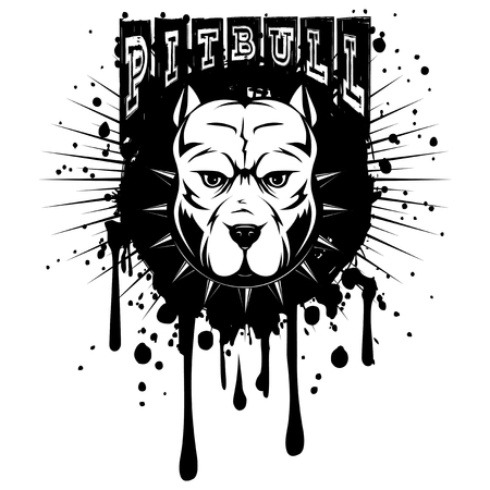 Abstract vector black and white illustration portrait of fighting dogs on grunge backgroun and inscription pitbull. Head of dog breed pit bull in collar with spikes.