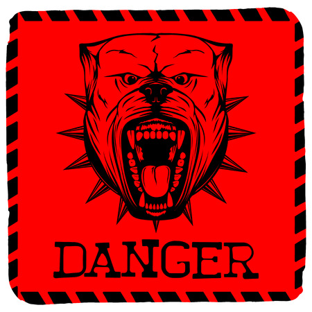 Abstract vector illustration red sign with head dog breed pit bull with collar with spikes. Inscription danger.