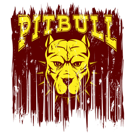 Vector illustration dog breed pit bull on grunge background. Inscription pitbull. For t-shirt design. Illustration