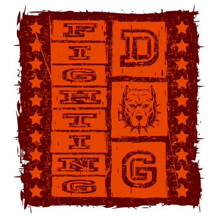 Vector illustration orange inscription fighting dog with head dog and stars on grunge background. For t-shirt design. Illustration
