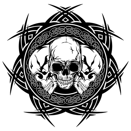 Abstract vector illustration black and white skulls on round ornament with celtic knots. Design for tattoo or print t shirt.