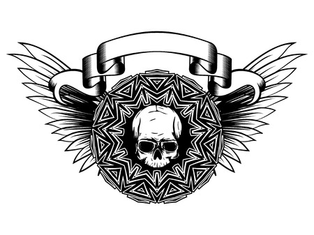 Abstract vector illustration black and white human skull and round ornament on wings. Design for tattoo or print t shirt. Illustration
