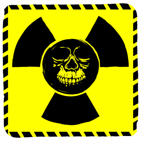chemical weapon sign: Vector illustration rhombic yellow sign radiation to skull
