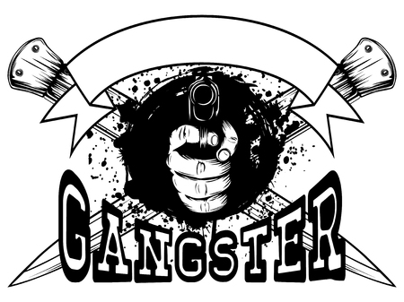 Vector illustration hand with pistol on crossed daggers and grunge background.