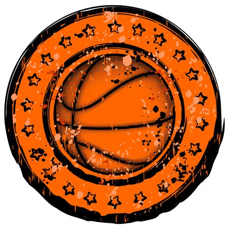 Vector illustration basketball ball with stars on grunge background for t-shirt design