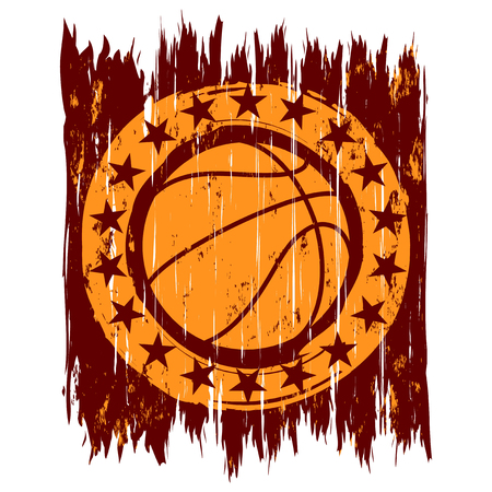 Abstract vector illustration orange basketball ball on grunge background with stars.
