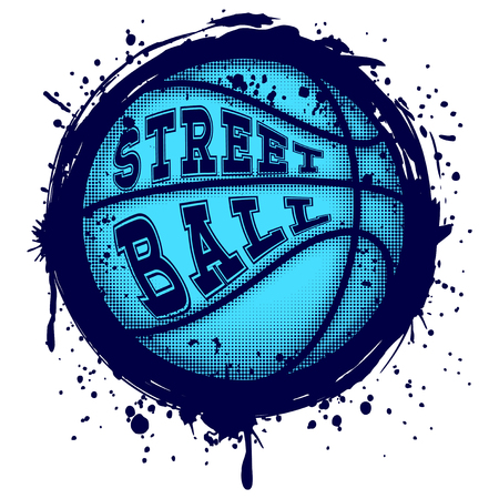 Abstract vector illustration blue basketball ball on grunge background.