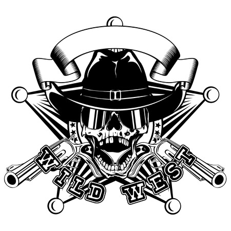 Vector illustration skull in cowboy hat with sunglasses and two revolvers on sheriff star.