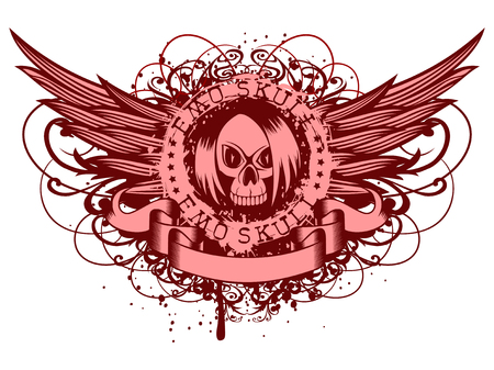 Vector illustration inscription emo skull with stars on grunge background with wings and patterns. Illustration