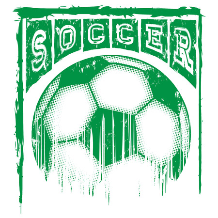 dribble: Abstract vector illustration scratched green football ball and inscription soccer. Illustration
