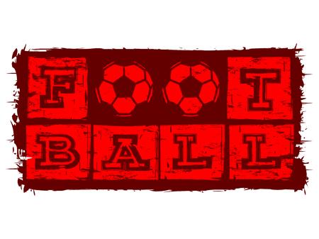 Abstract vector illustration red inscription football with football ball. Иллюстрация