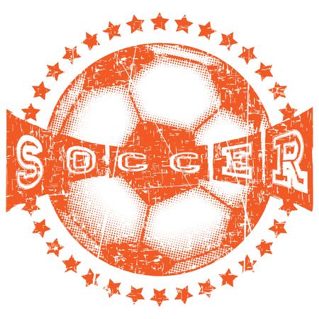Abstract vector illustration football ball with stars. Inscription soccer. Illustration