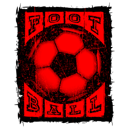 Abstract vector illustration black shabby stamp football ball on grunge background.