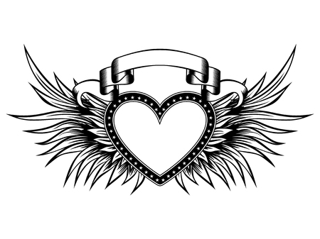 Abstract vector illustration frame heart with wings and banner.