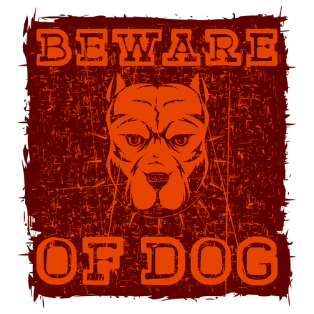 pit: Abstract vector illustration stamp with head dog breed pit bull with collar with spikes on grunge background. Illustration