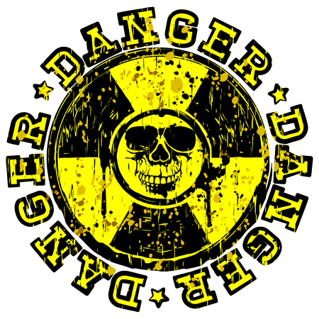Abstract vector illustration yellow round stamp with radioactivity sign and inscription in circle danger.