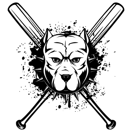 Abstract vector black and white illustration portrait of fighting dogs. Head of dog breed pit bull in collar with spikes on crossed baseball bats.