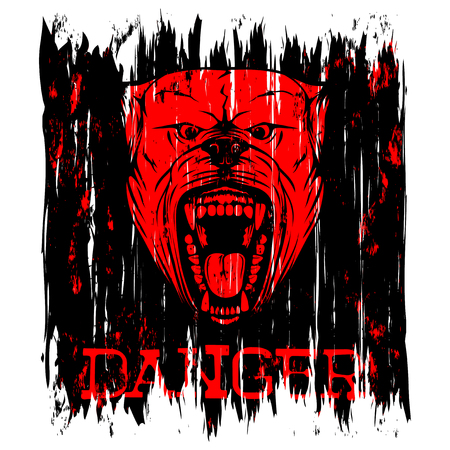 Vector illustration of aggressive snarling dog breed pit bull with an open mouth. Inscription danger.