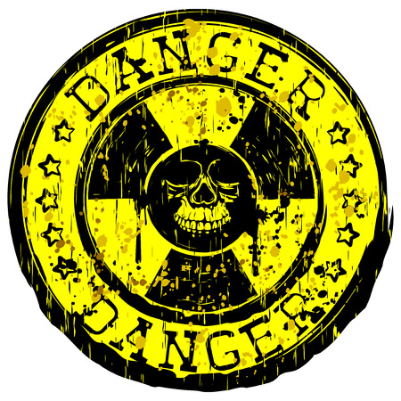Vector illustration yellow round stamp with radioactivity sign and inscription in circle danger with stars. In center of radiation symbol grunge skull
